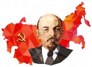 Soviet Union, USSR, map with flag, portrait of Lenin