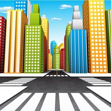 Vector illustration of cartoon city. clip art vector