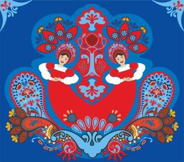 Russian ornament. Dancing girls
