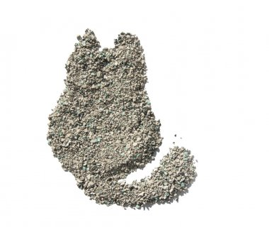 Cat litter isolated. Texture in the form of cats.