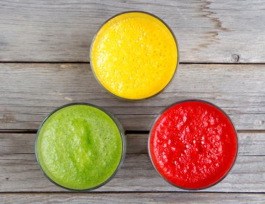 Fresh smoothies in the glass