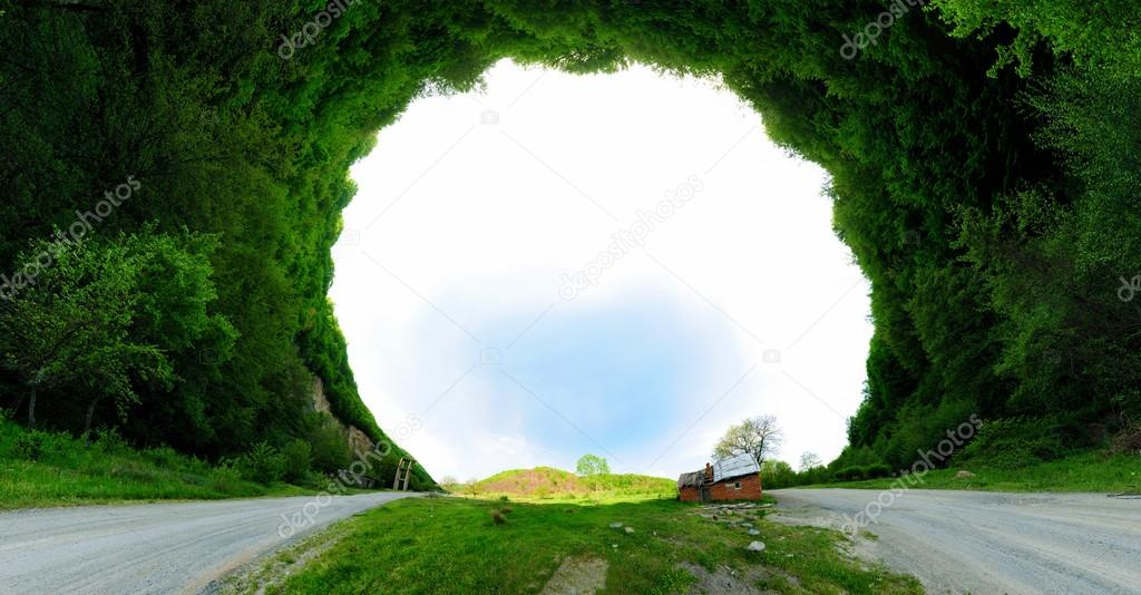 Stereographic panoramic projection of house
