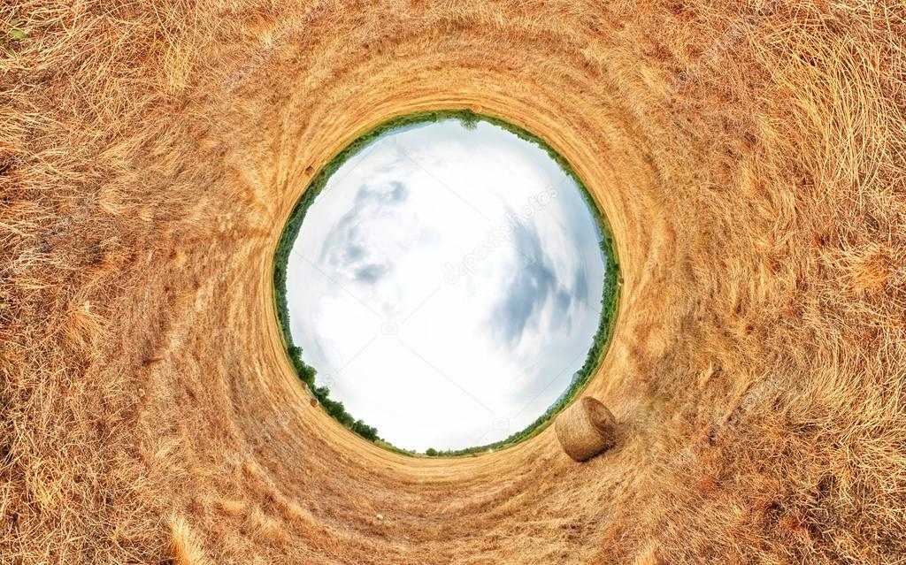 Stereographic projection of a a hay bale field