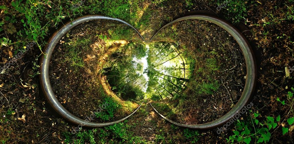 Stereographic projection of a a railroad with trees.