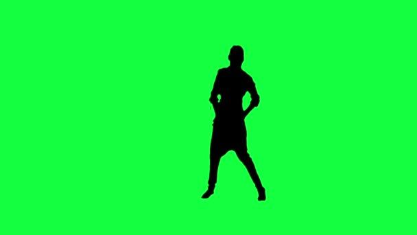 silueta tančící ženy, na zeleném pozadí