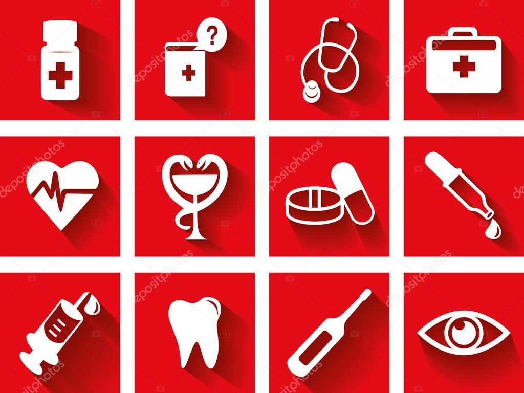 Flat medical icon set