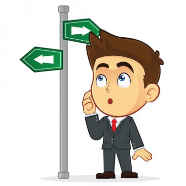 Businessman Looking at a Sign That Points in Many Directions