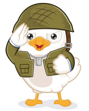 Clipart Picture of a White Bird Army Cartoon Character. stock vector