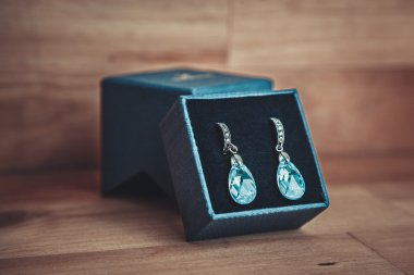 Pair of blue crystal earrings