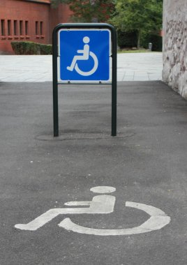 Two signs for a handicap parking area