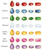Sedm sady šperků s textem