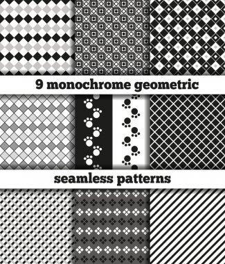 Set of black-white monochrome geometric seamless patterns