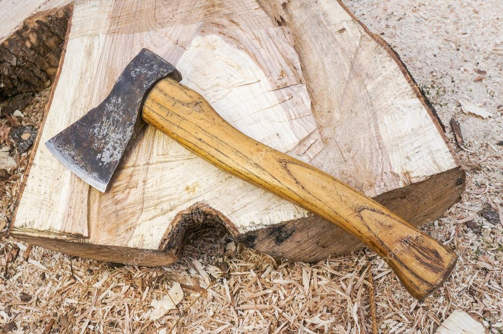 Fire wood and old axe