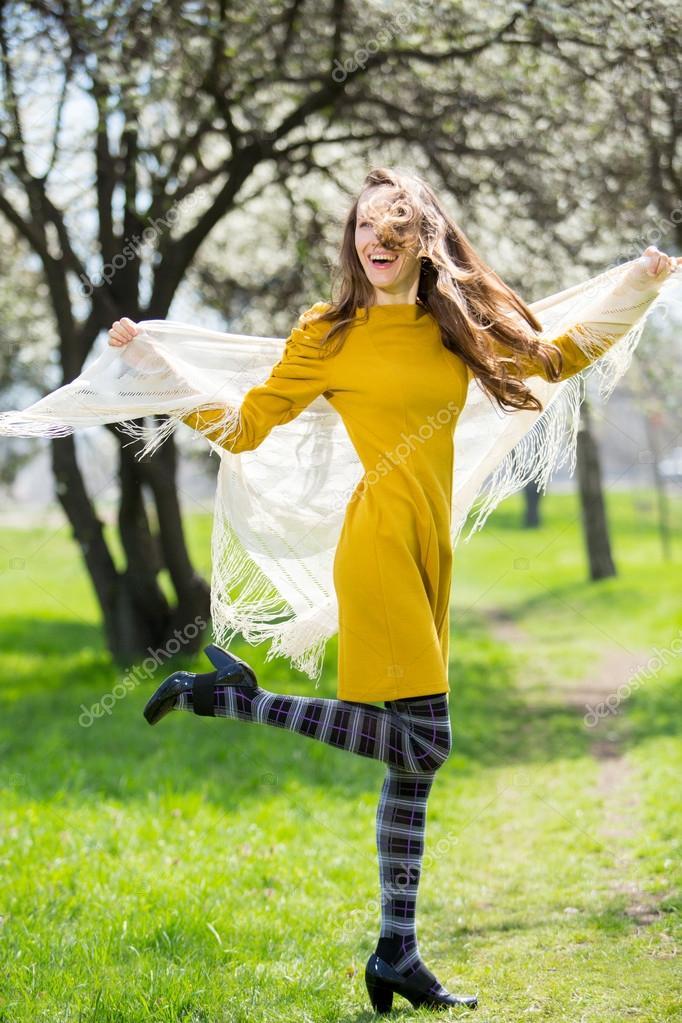 Spring happy woman