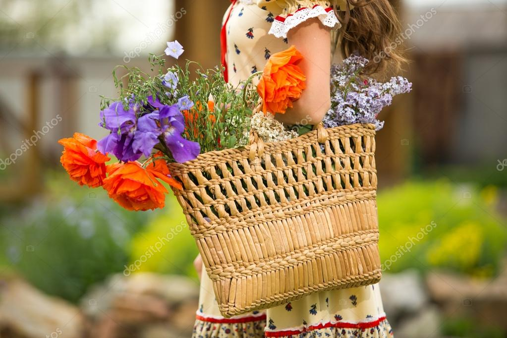 Woman with flower basket