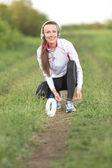 boldog futó nő