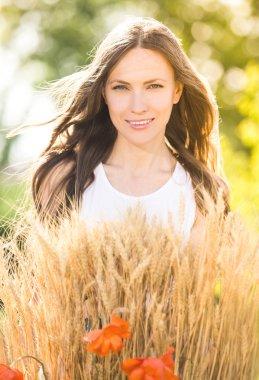 Beauty romantic girl outdoors