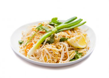 Traditional Vegetarian Pad Thai dish, Isolated on white