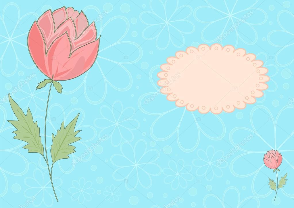le vecteur bleu et rose fleur picrure — image vectorielle