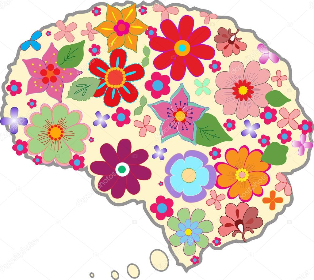 Beautiful brain with colored flowers