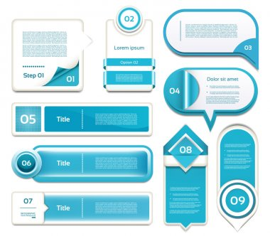 Set of blue vector progress, version, step icons. eps 10