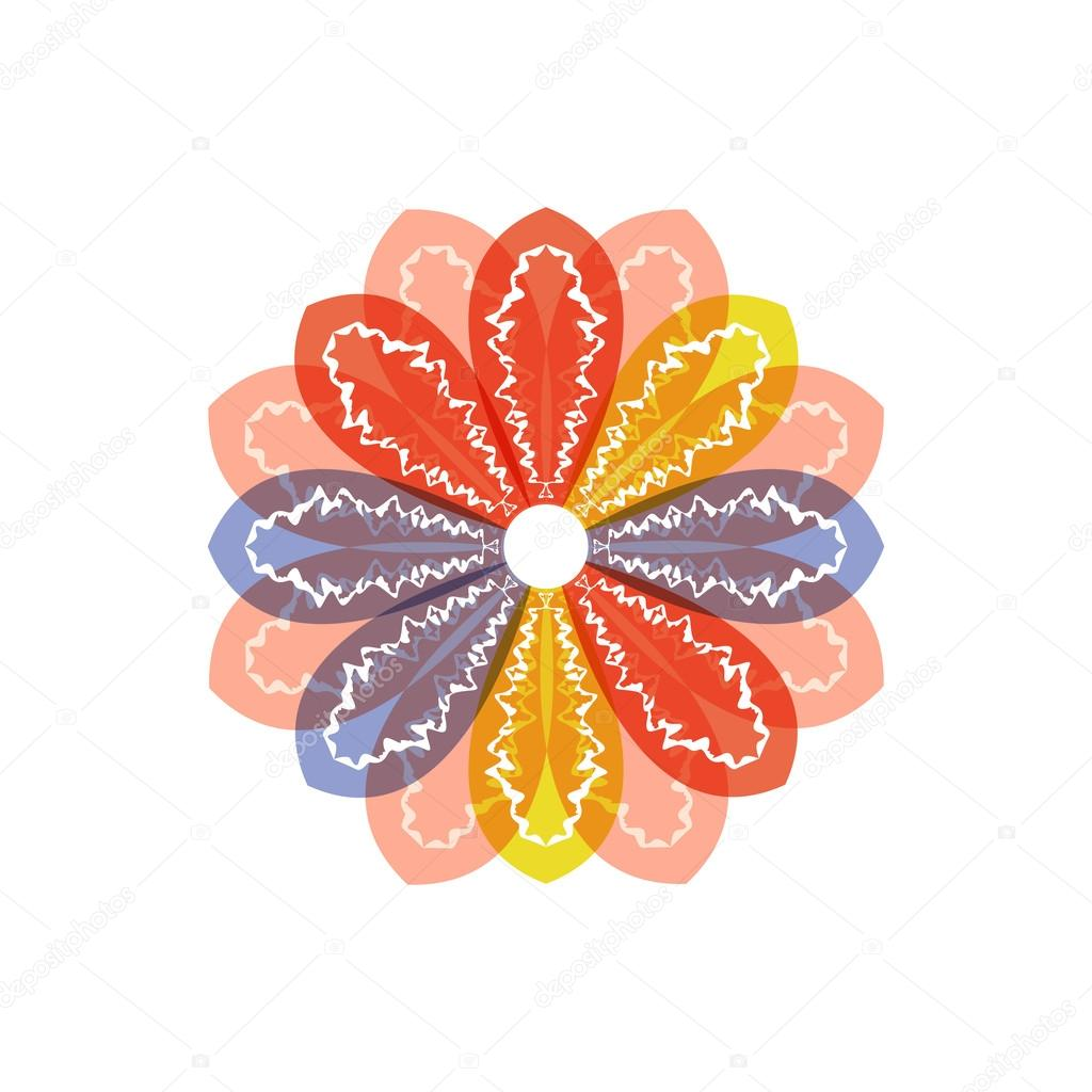 Flower pattern, yellow and red. vector