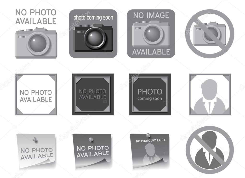 Icons to fill the seat of missing photos. Vector illustration