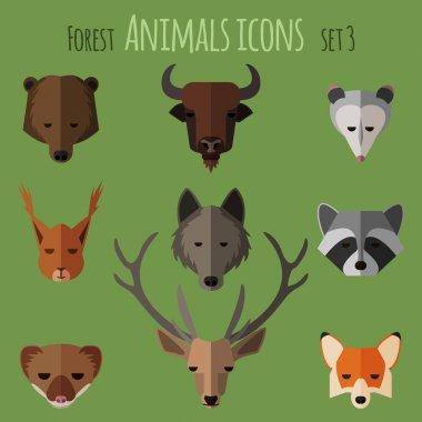 Forest animals flat icons. Set 1