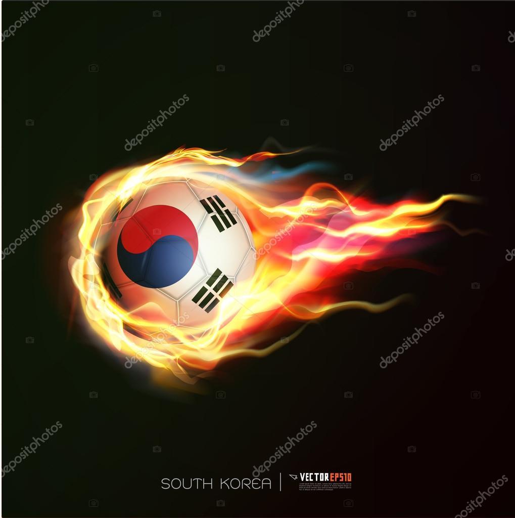 b9accf04a242e Bandera de Corea del sur con pelota volando en llamas aislado fondo negro