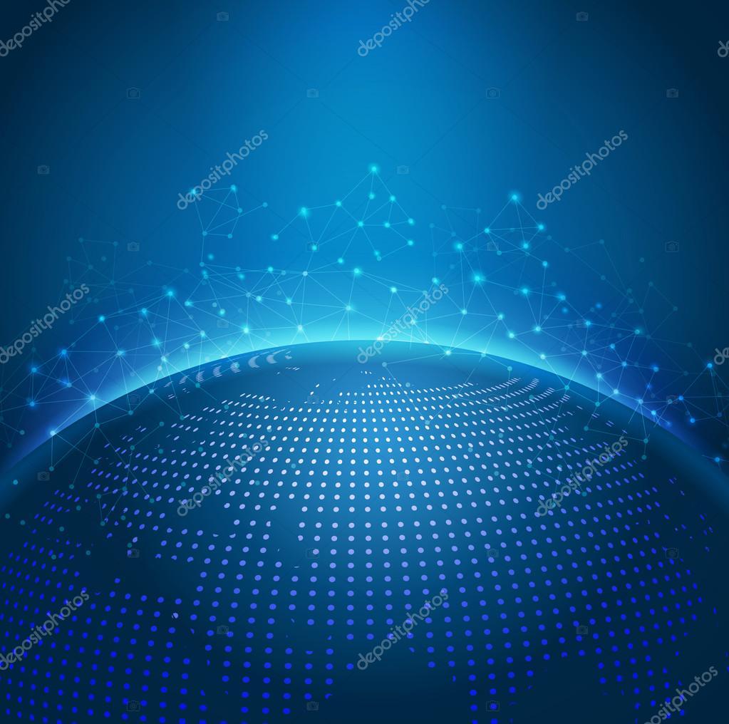 Global technology mesh digital network with dot digital world ma