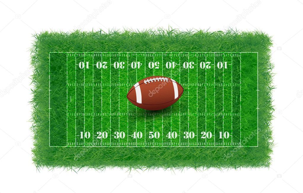 ansicht von oben american football feld mit echtem rasen nicht glatt vektor illustration. Black Bedroom Furniture Sets. Home Design Ideas
