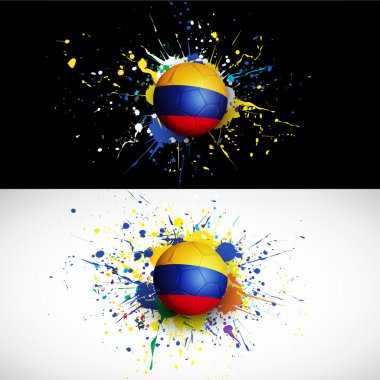 Colombia flag with soccer ball dash on colorful background, vector & illustration