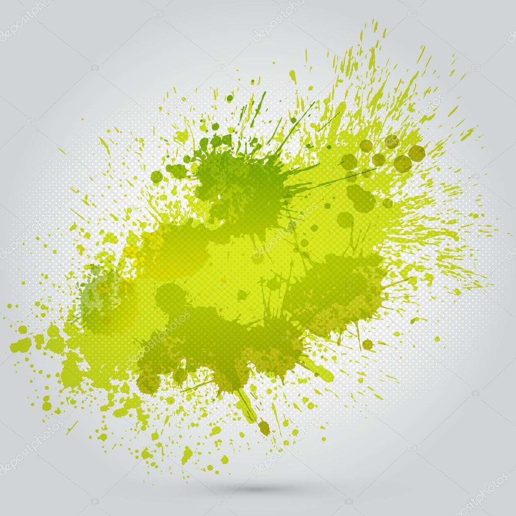 Vector green vintage watercolor texture with blots