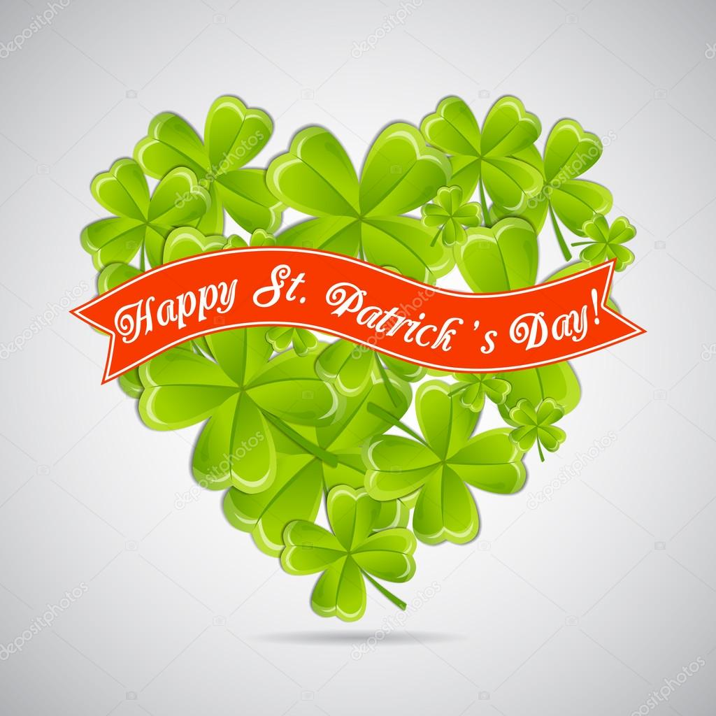 Greeting card with heart of clovers and ribbonŒ