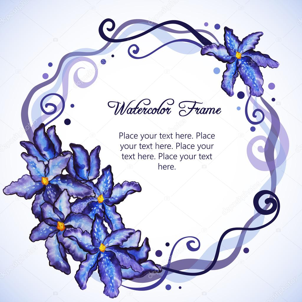 Watercolor floral frame of purple iris