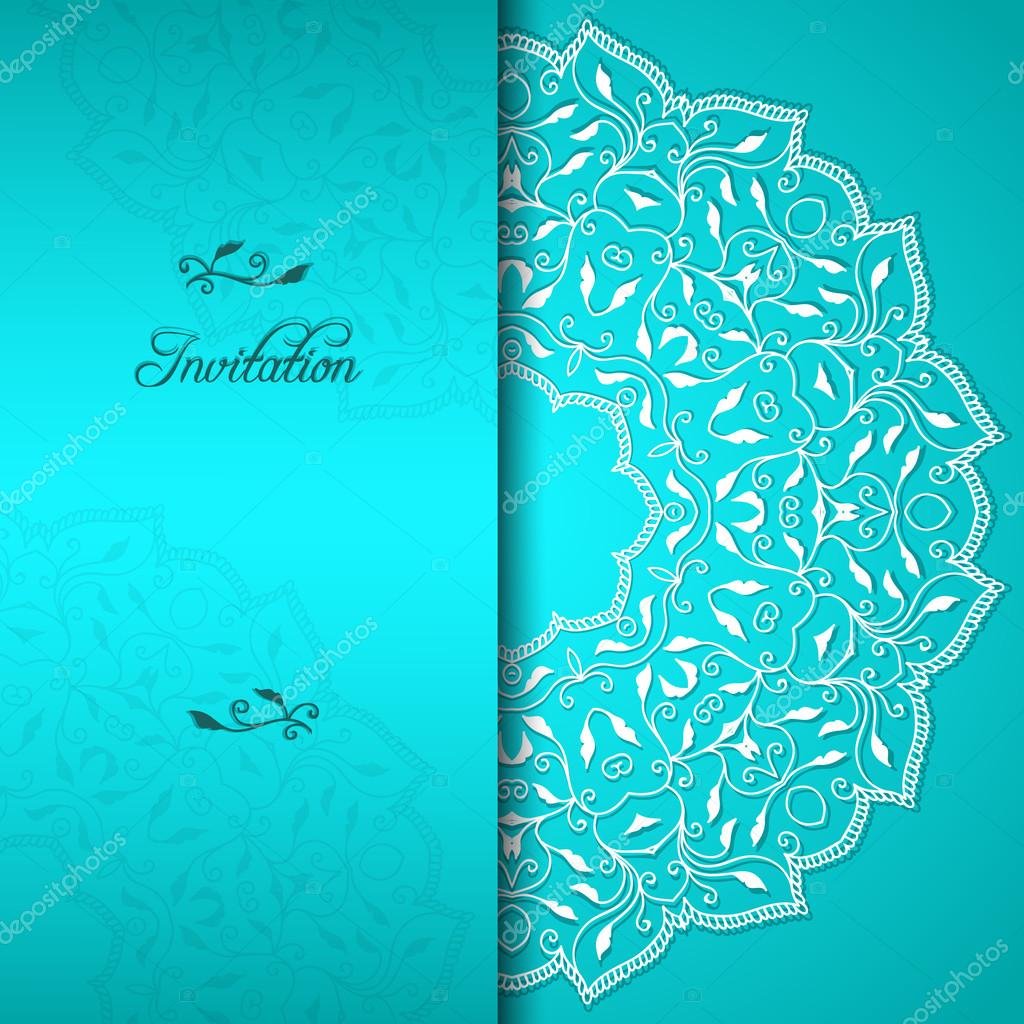 Turquoise elegant invitation with floral ornament