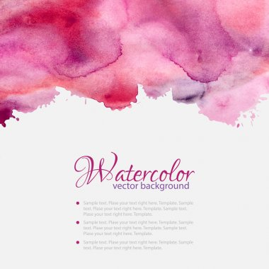 Pink watercolor blots pattern top abstract frame clip art vector