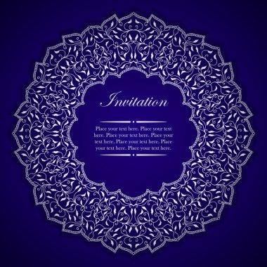 Elegant invitation card with silver round ornament
