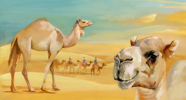 Watercolor camels in desert
