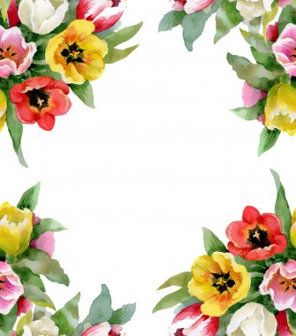 Colorful floral seamless frame