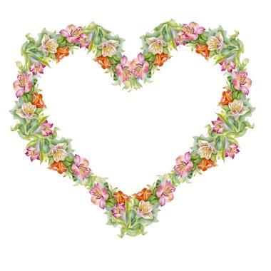 Colorful alstroemeria heart