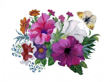 Watercolor flowers bouquet and butterfly