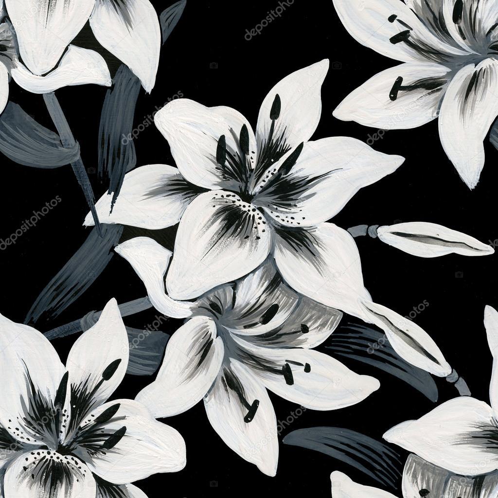 Lilies flowers stock photo kostan proff 50339241 beautiful lilies flowers pattern on black background photo by kostan proff izmirmasajfo