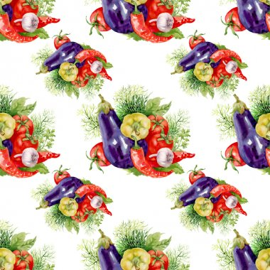 Watercolor vegetables Seamless Pattern,fresh food background stock vector