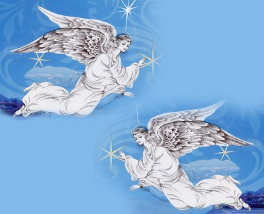 Angels in Christmas sky