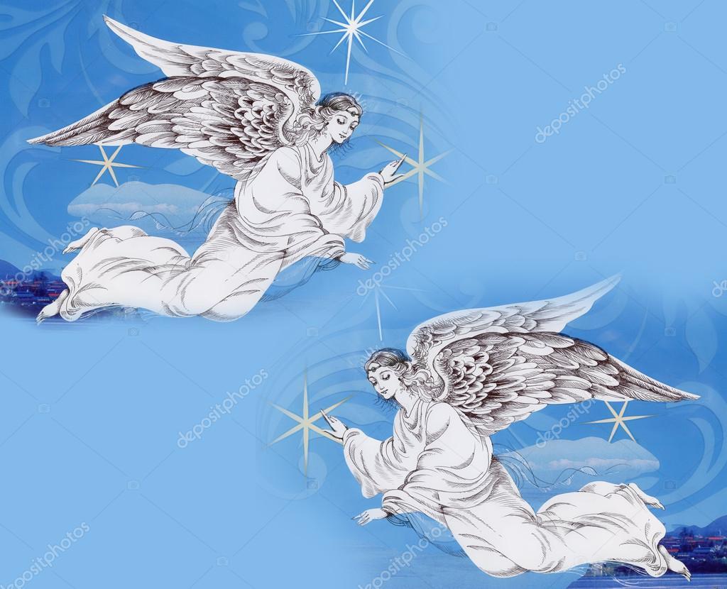 Angels in Christmas sky
