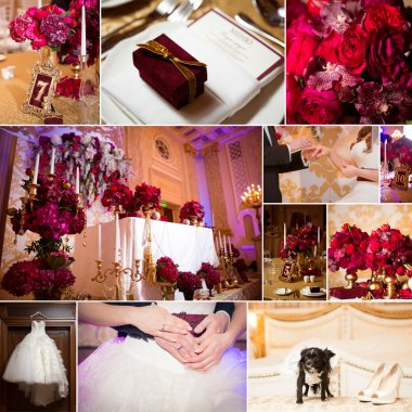 Collage of wedding pictures decorations in red colour