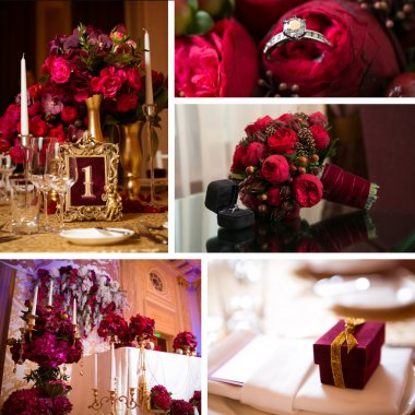 collage of wedding pictures decorations