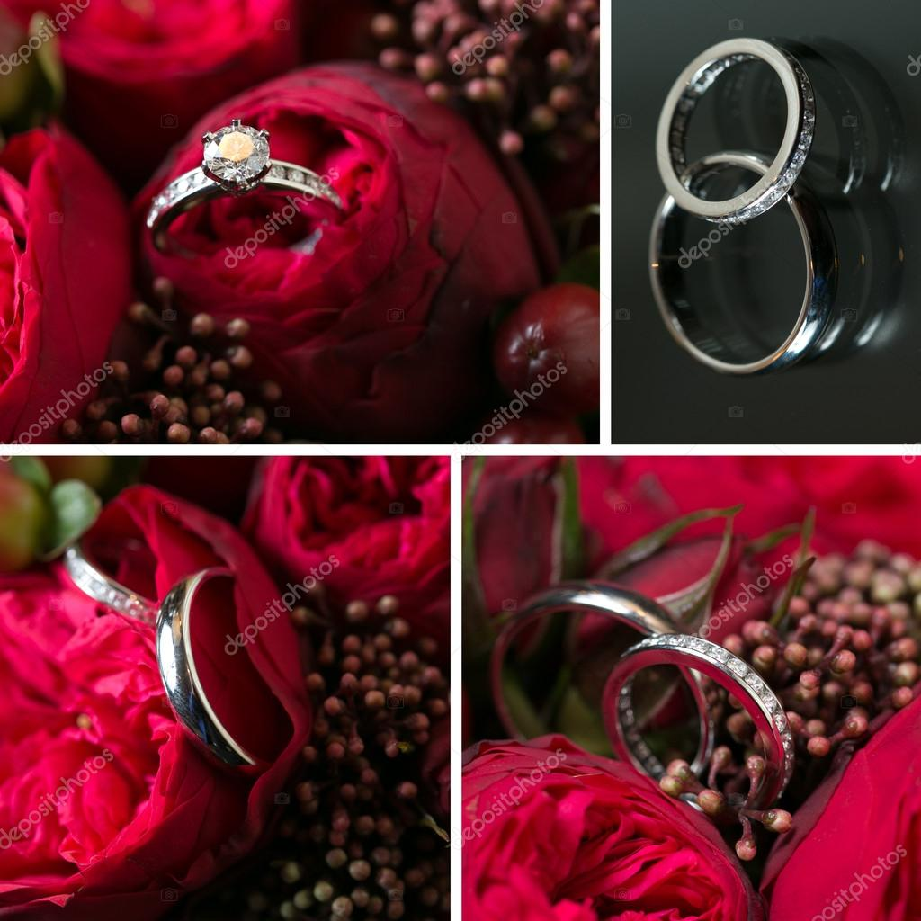 Collage Von Hochzeit Bilder Dekoration Stockfoto C Sarymsakov