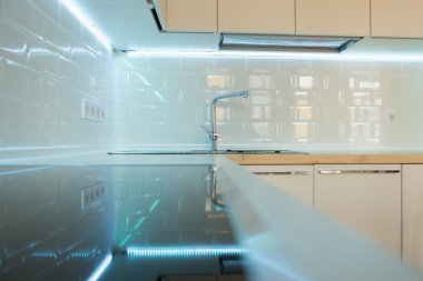 contemporary white kitchen interior. close up